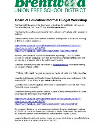 Brentwood Public Library Board of Education Informal Budget Workshop